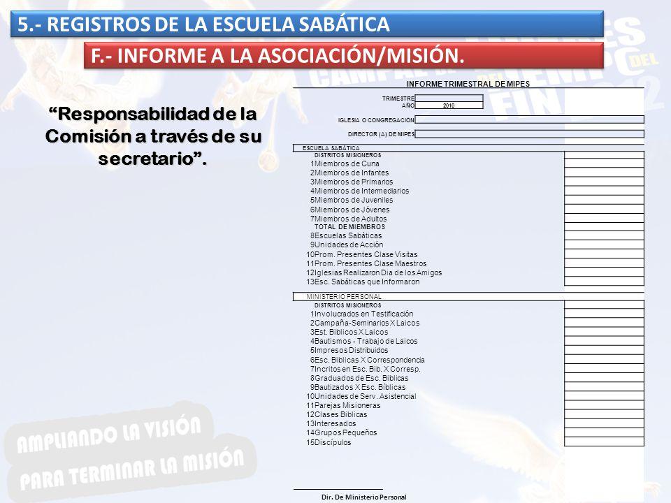 5.- REGISTROS DE LA ESCUELA SABÁTICA