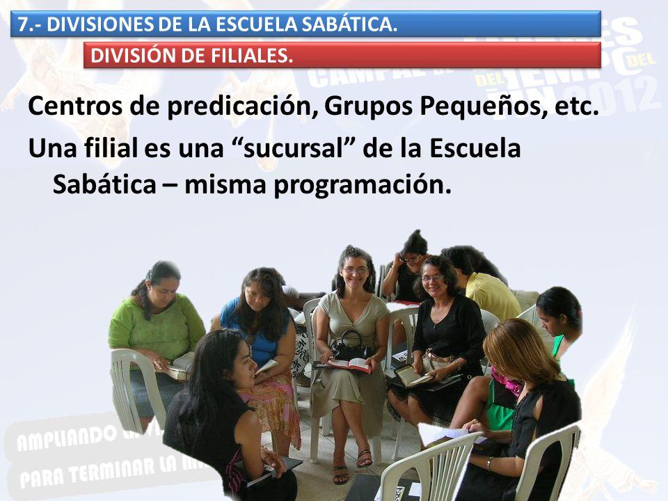 7.- DIVISIONES DE LA ESCUELA SABÁTICA.