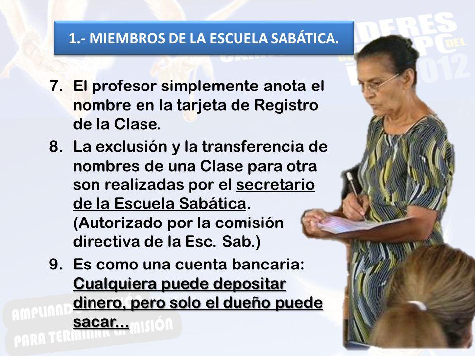 1.- MIEMBROS DE LA ESCUELA SABÁTICA.