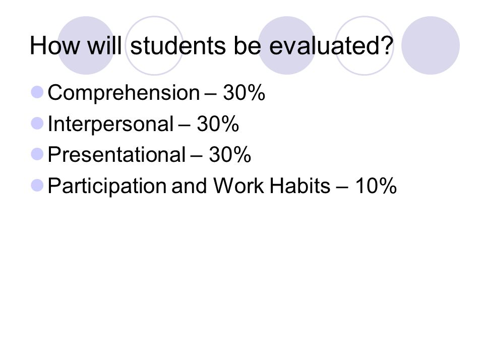 How will students be evaluated