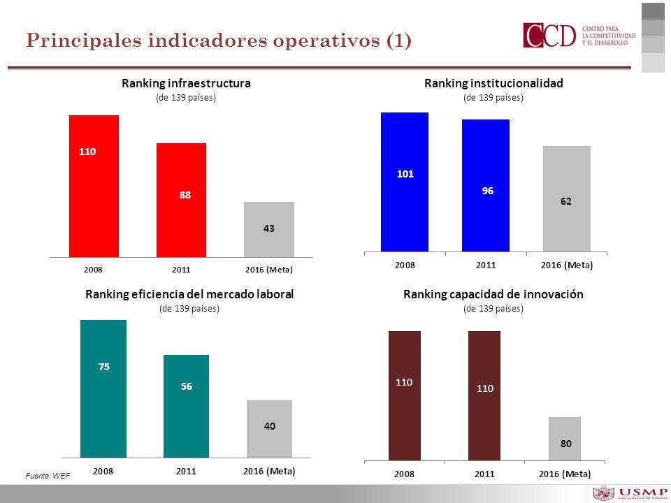Principales indicadores operativos (1)