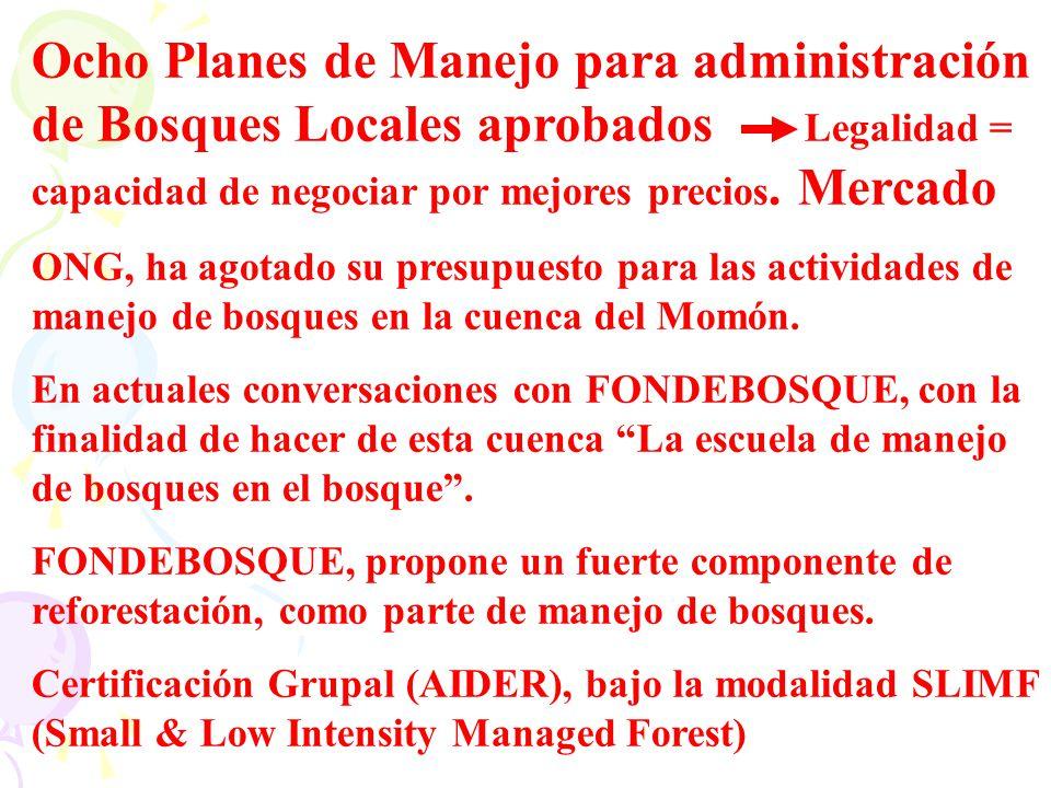 Ocho Planes de Manejo para administración de Bosques Locales aprobados Legalidad = capacidad de negociar por mejores precios. Mercado