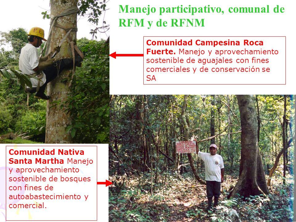 Manejo participativo, comunal de RFM y de RFNM