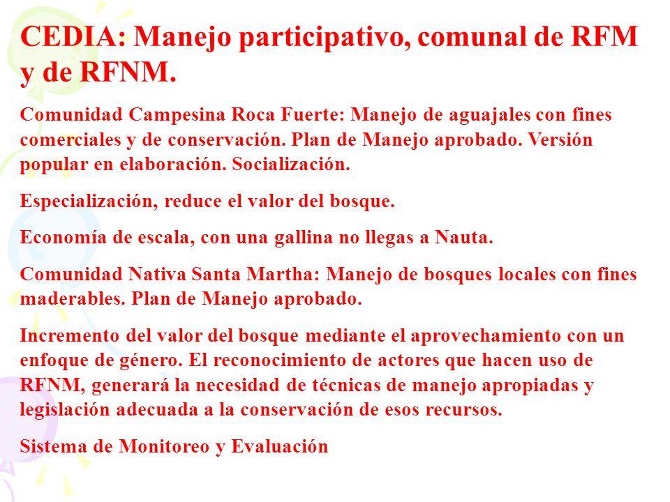 CEDIA: Manejo participativo, comunal de RFM y de RFNM.