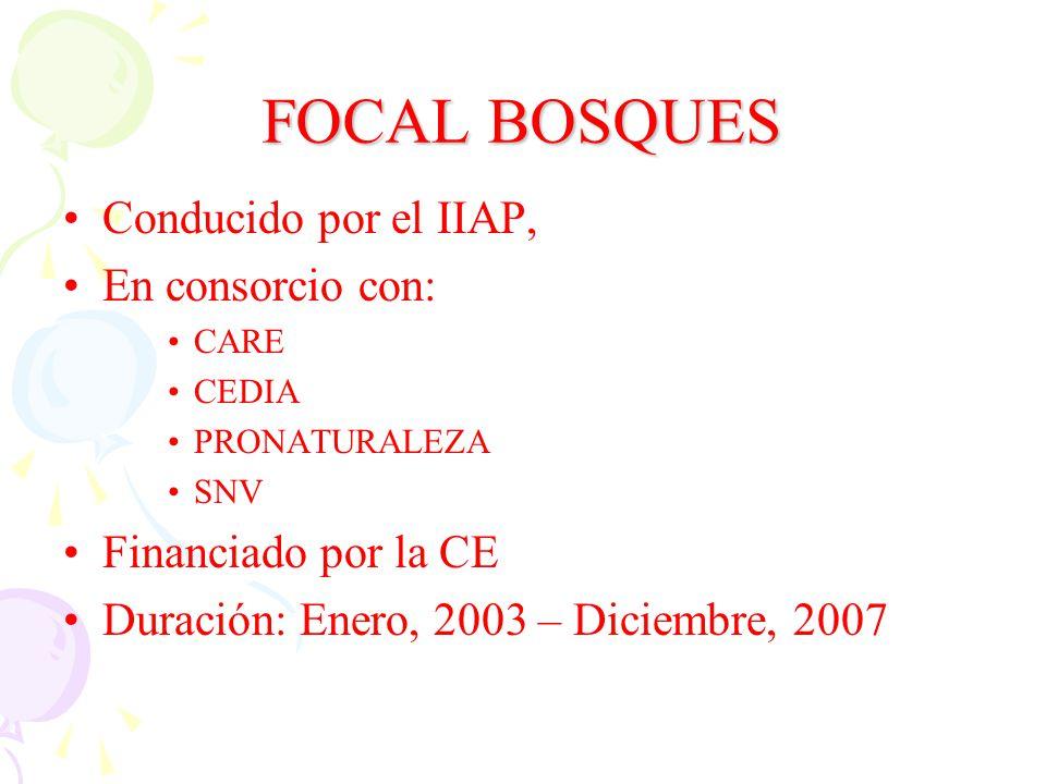 FOCAL BOSQUES Conducido por el IIAP, En consorcio con: