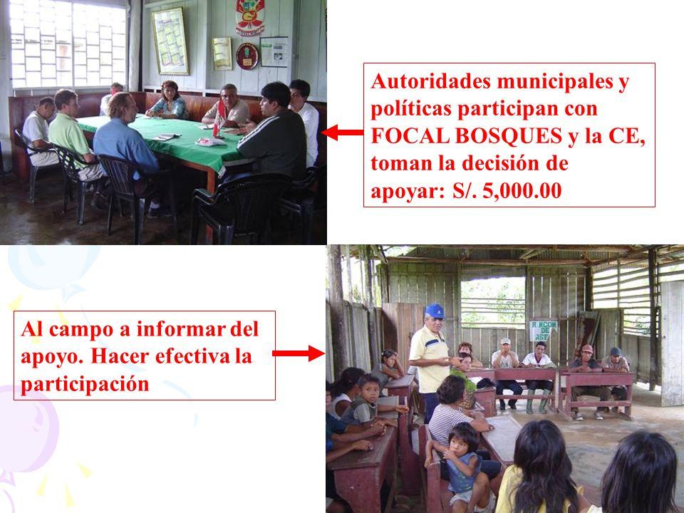 Autoridades municipales y políticas participan con FOCAL BOSQUES y la CE, toman la decisión de apoyar: S/. 5,000.00