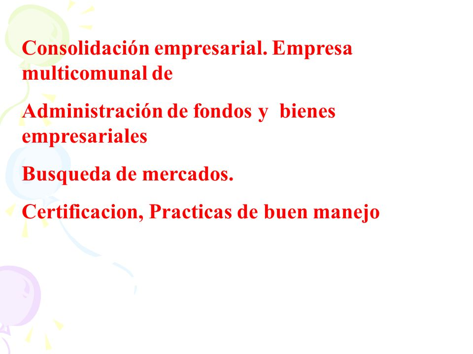 Consolidación empresarial. Empresa multicomunal de