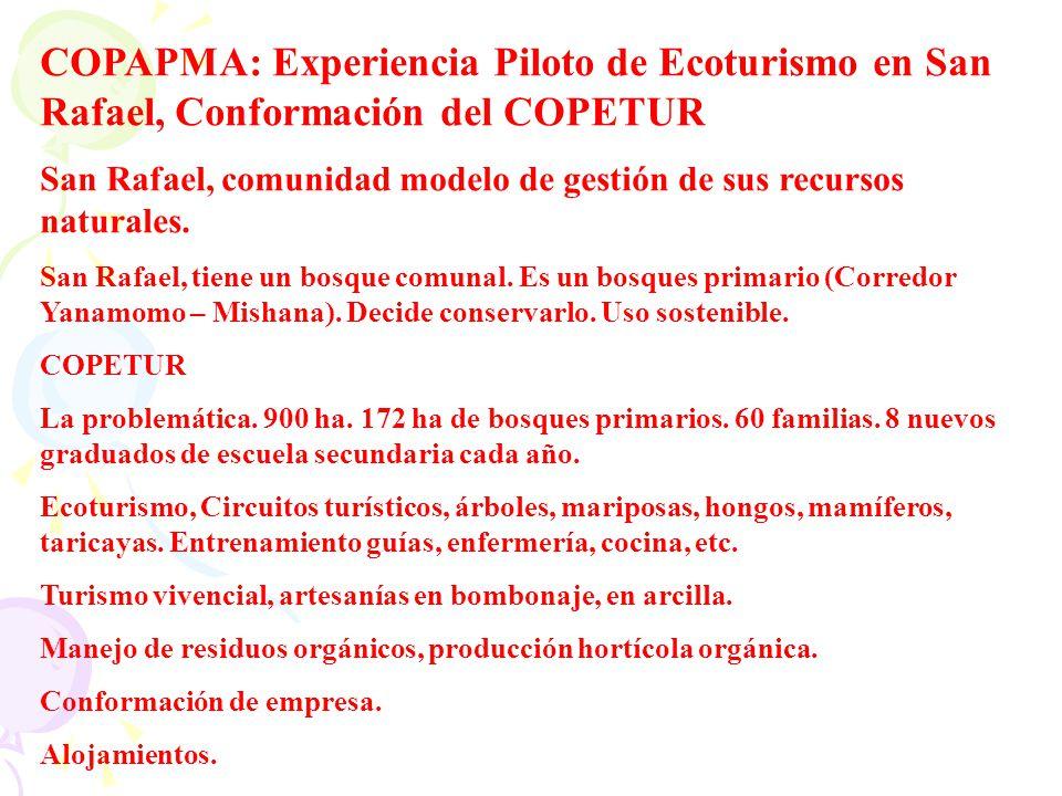 COPAPMA: Experiencia Piloto de Ecoturismo en San Rafael, Conformación del COPETUR