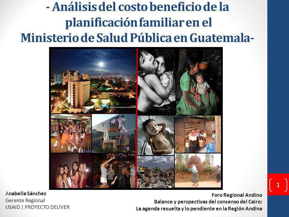 - Análisis del costo beneficio de la planificación familiar en el Ministerio de Salud Pública en Guatemala-