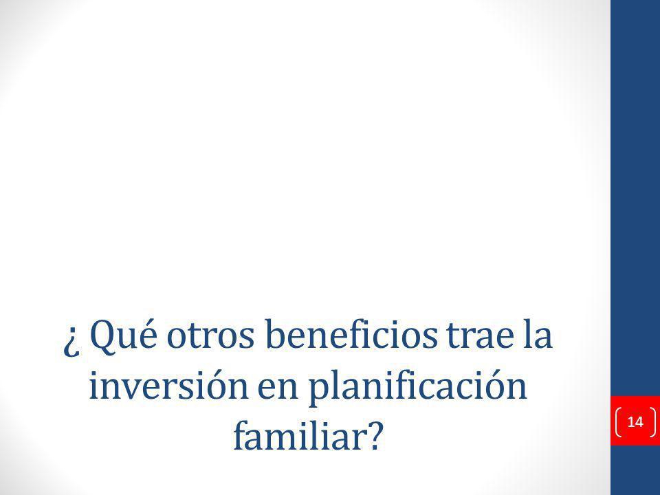 ¿ Qué otros beneficios trae la inversión en planificación familiar