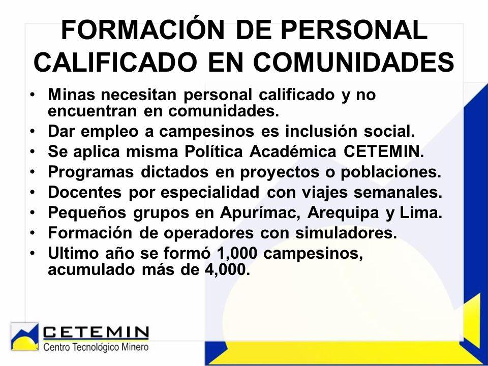 FORMACIÓN DE PERSONAL CALIFICADO EN COMUNIDADES