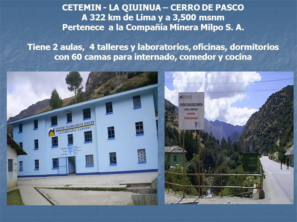 CETEMIN - LA QIUINUA – CERRO DE PASCO A 322 km de Lima y a 3,500 msnm