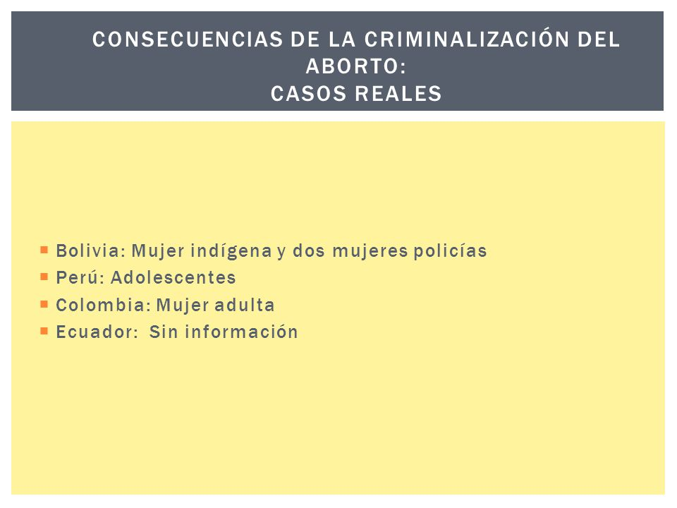 Consecuencias de la criminalización del aborto: casos reales