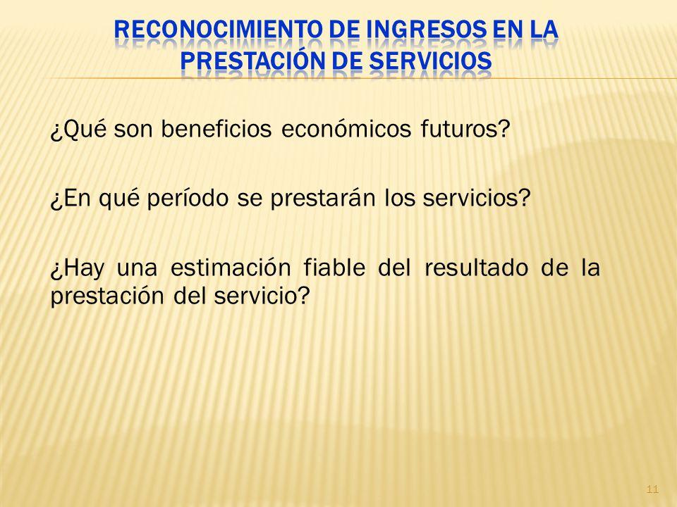 Reconocimiento de ingresos en la prestación de servicios