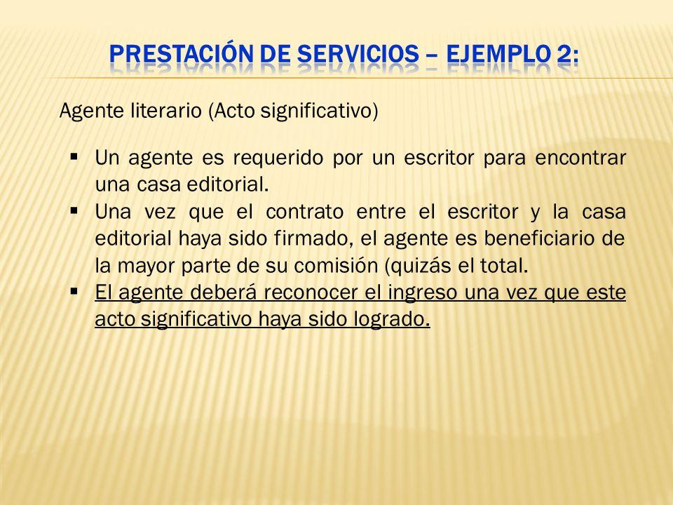 Prestación de servicios – Ejemplo 2: