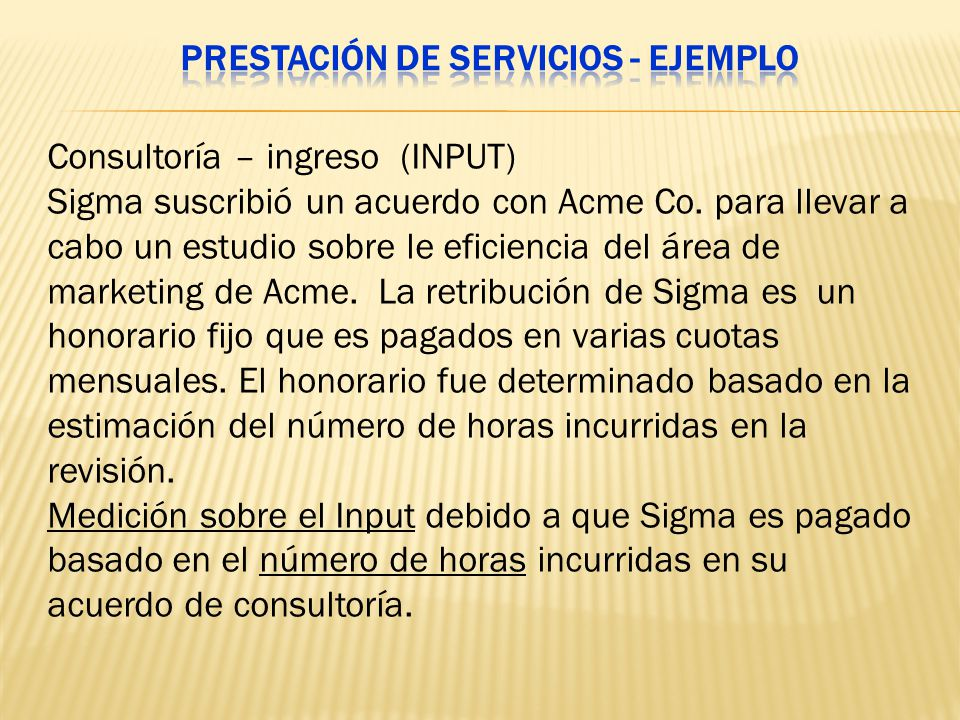 Prestación de servicios - Ejemplo