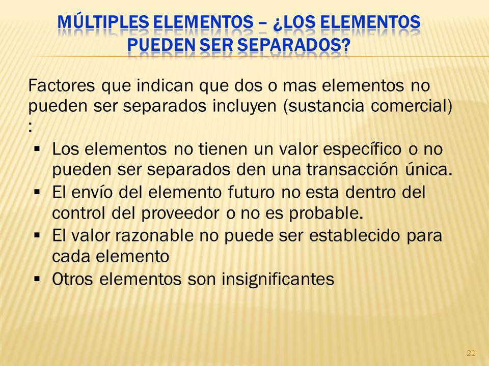 Múltiples elementos – ¿Los elementos pueden ser separados
