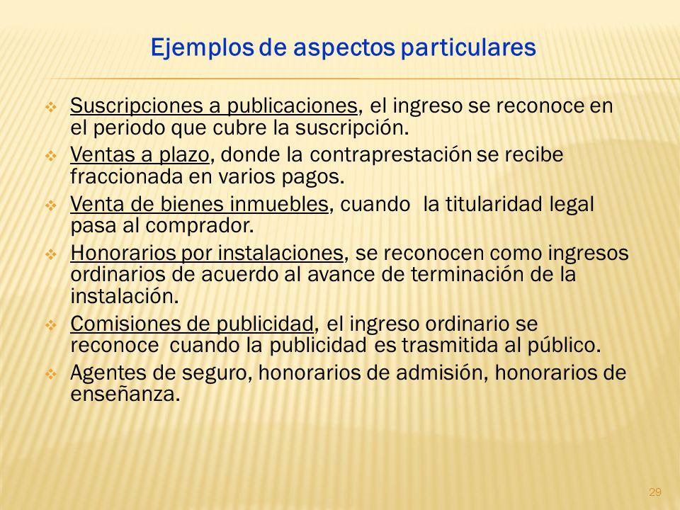 Ejemplos de aspectos particulares
