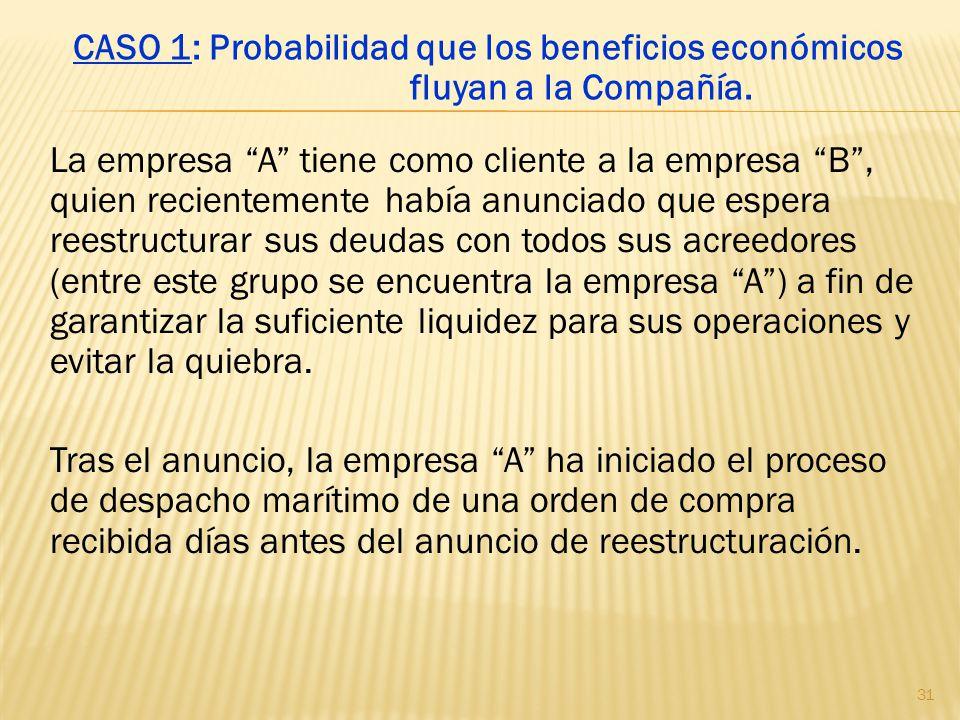 CASO 1: Probabilidad que los beneficios económicos fluyan a la Compañía.