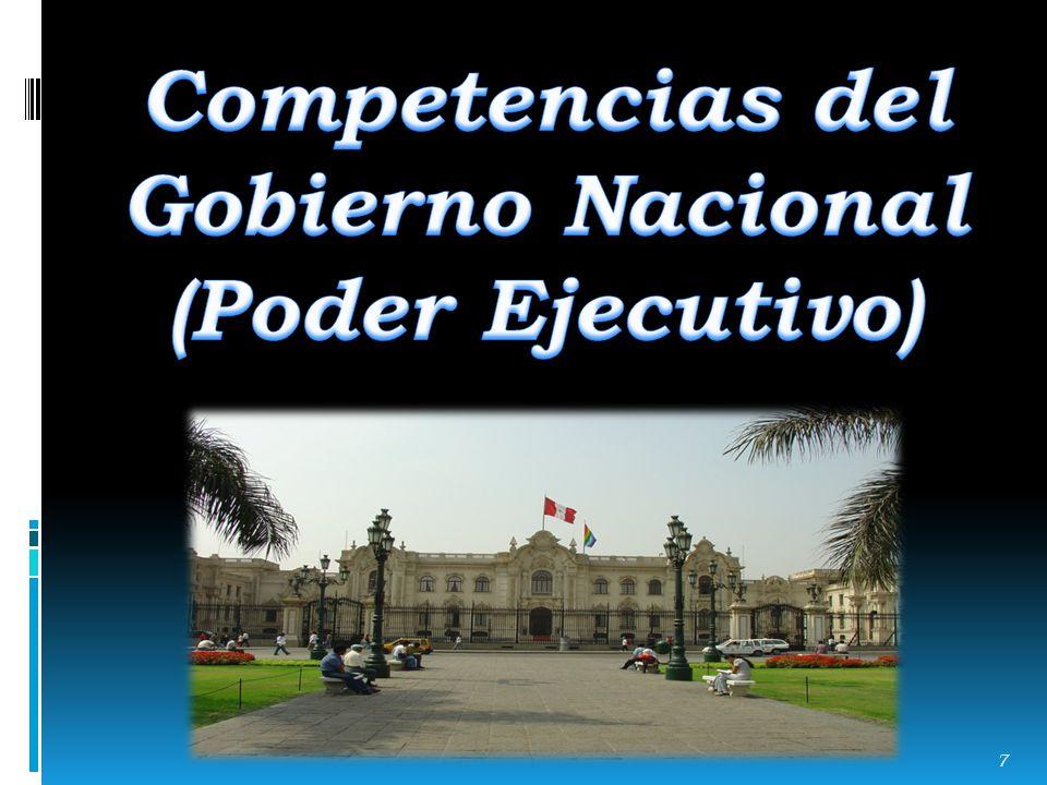 Competencias del Gobierno Nacional (Poder Ejecutivo)