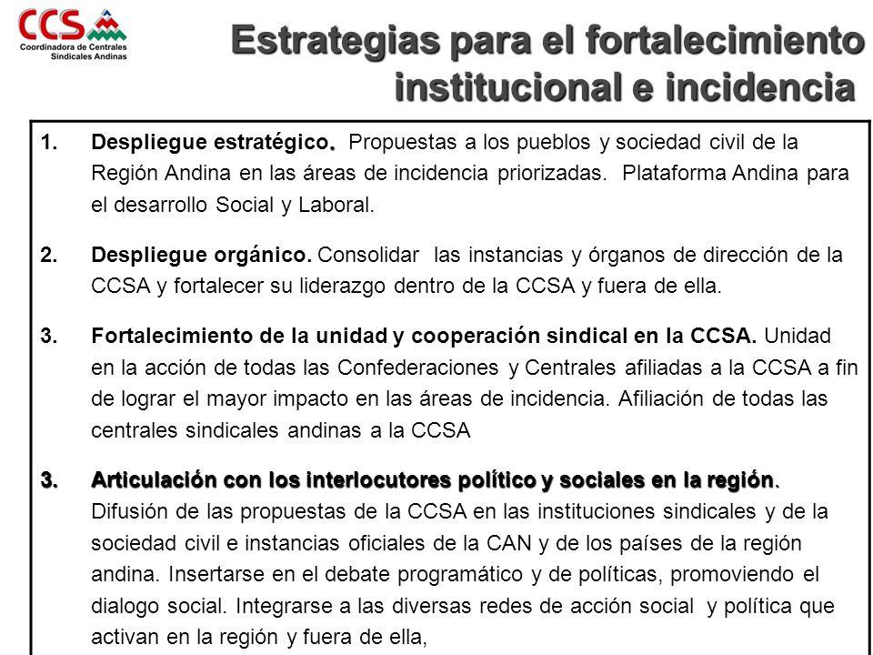 Estrategias para el fortalecimiento institucional e incidencia