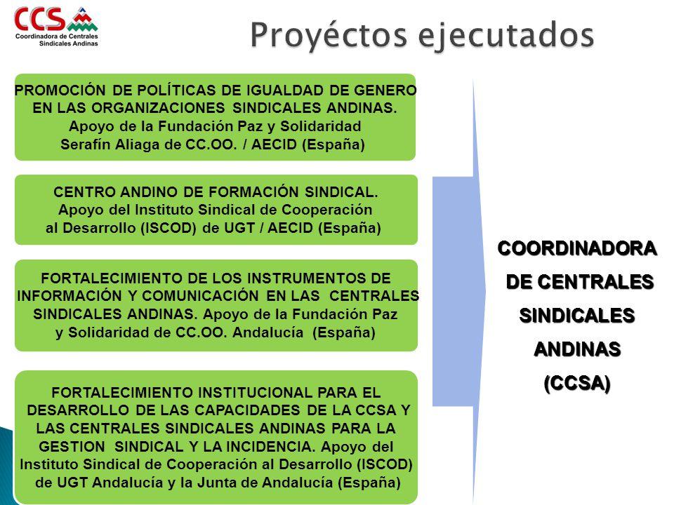 Proyéctos ejecutados COORDINADORA DE CENTRALES SINDICALES ANDINAS
