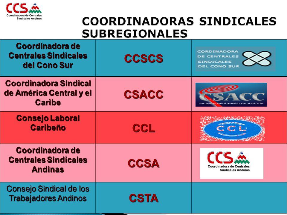 COORDINADORAS SINDICALES SUBREGIONALES