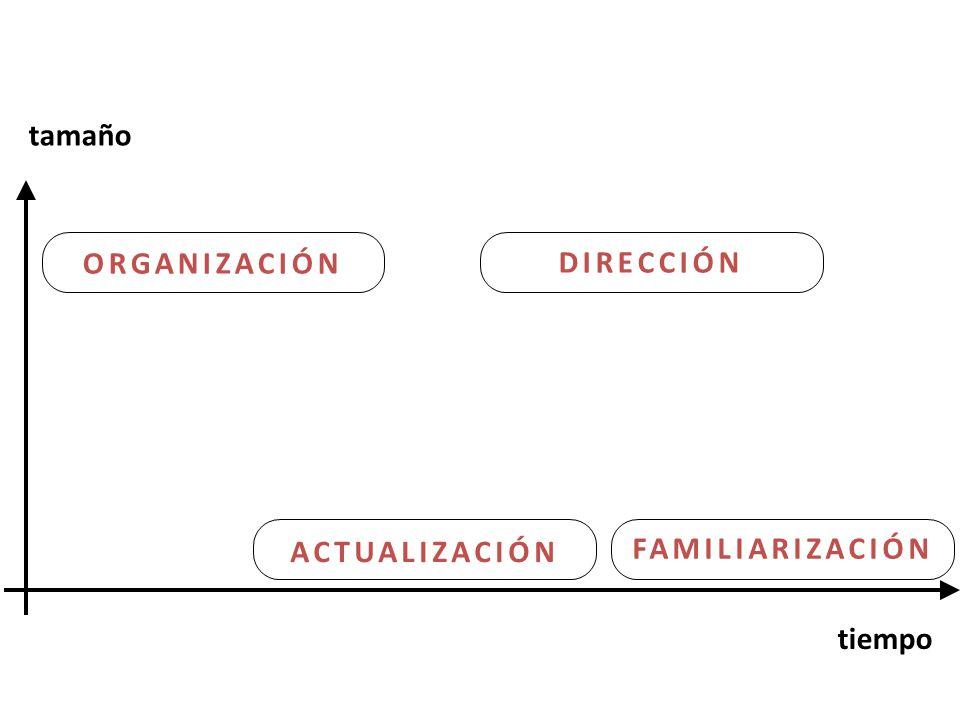 tamaño ORGANIZACIÓN DIRECCIÓN ACTUALIZACIÓN FAMILIARIZACIÓN tiempo