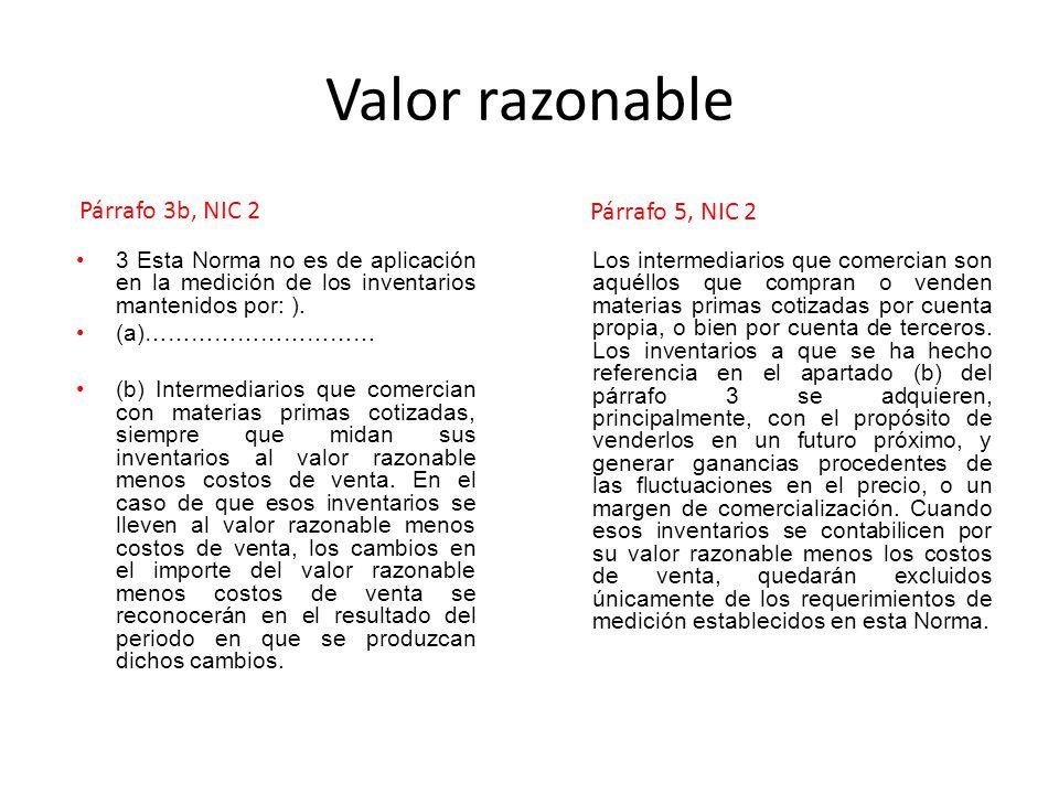 Valor razonable Párrafo 3b, NIC 2 Párrafo 5, NIC 2