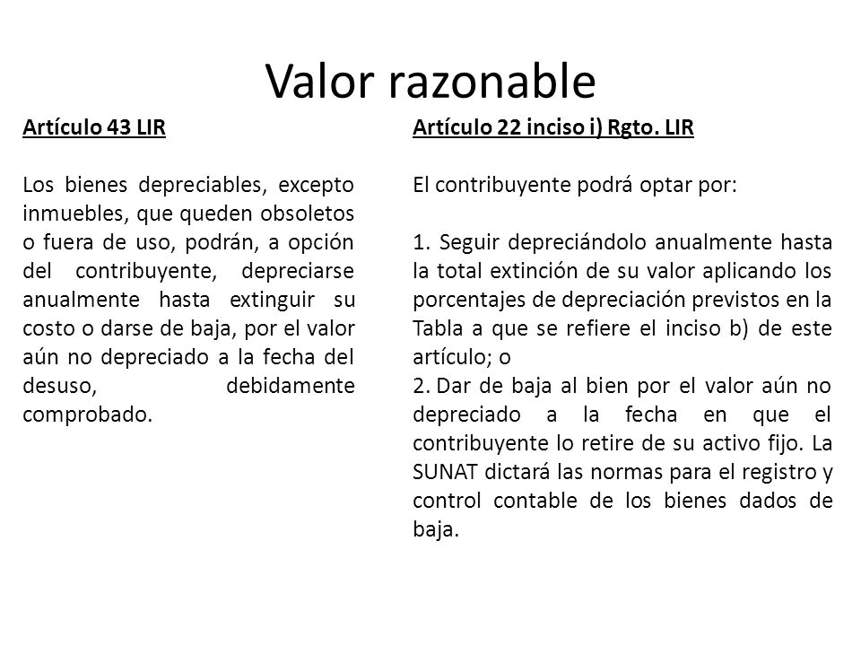 Valor razonable Artículo 43 LIR