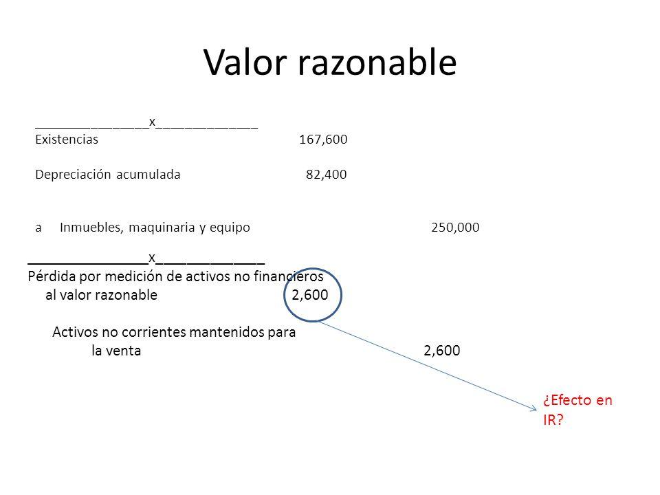 Valor razonable ¿Efecto en IR ________________x______________