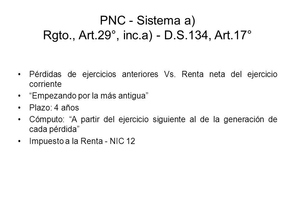 PNC - Sistema a) Rgto., Art.29°, inc.a) - D.S.134, Art.17°