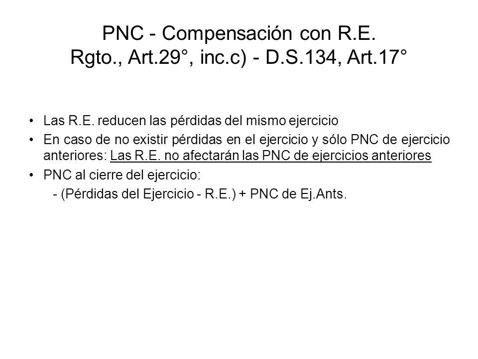 PNC - Compensación con R.E. Rgto., Art.29°, inc.c) - D.S.134, Art.17°