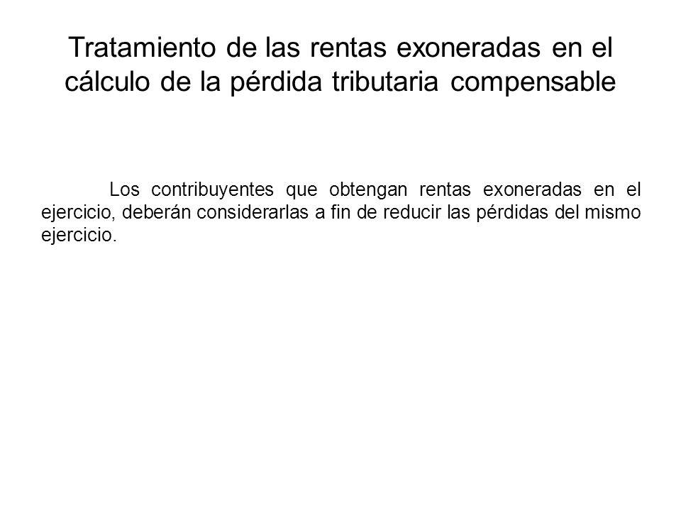 Tratamiento de las rentas exoneradas en el cálculo de la pérdida tributaria compensable