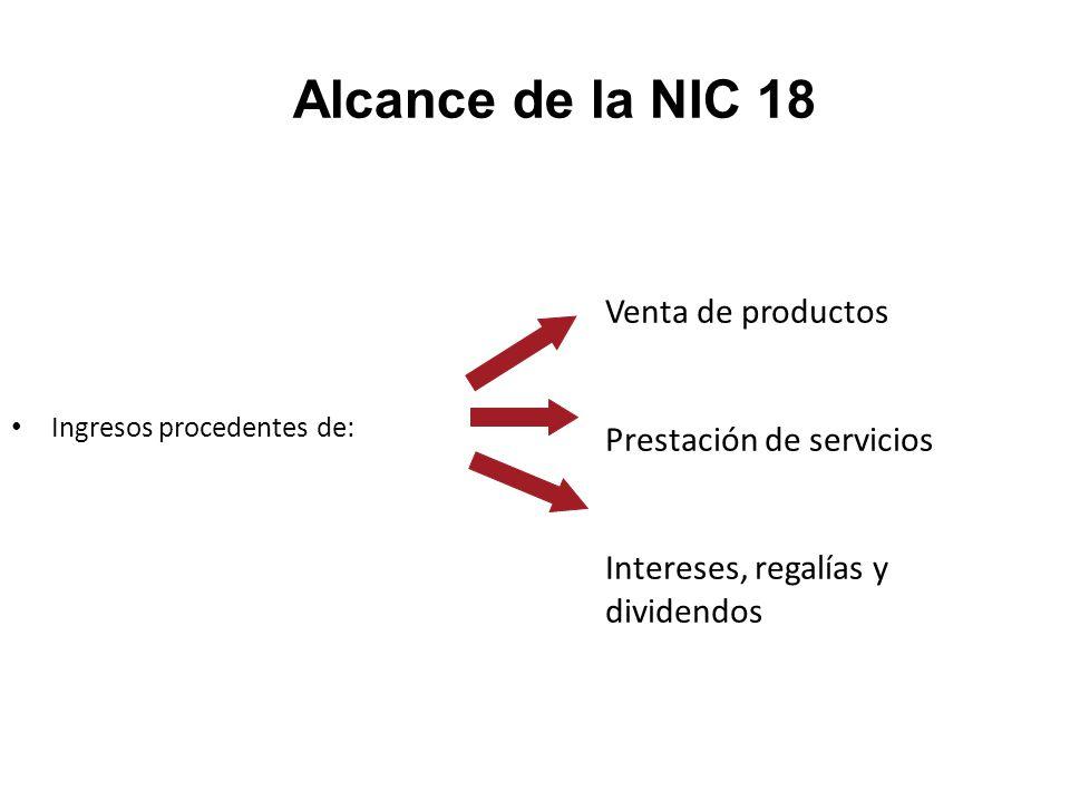 Alcance de la NIC 18 Venta de productos Prestación de servicios