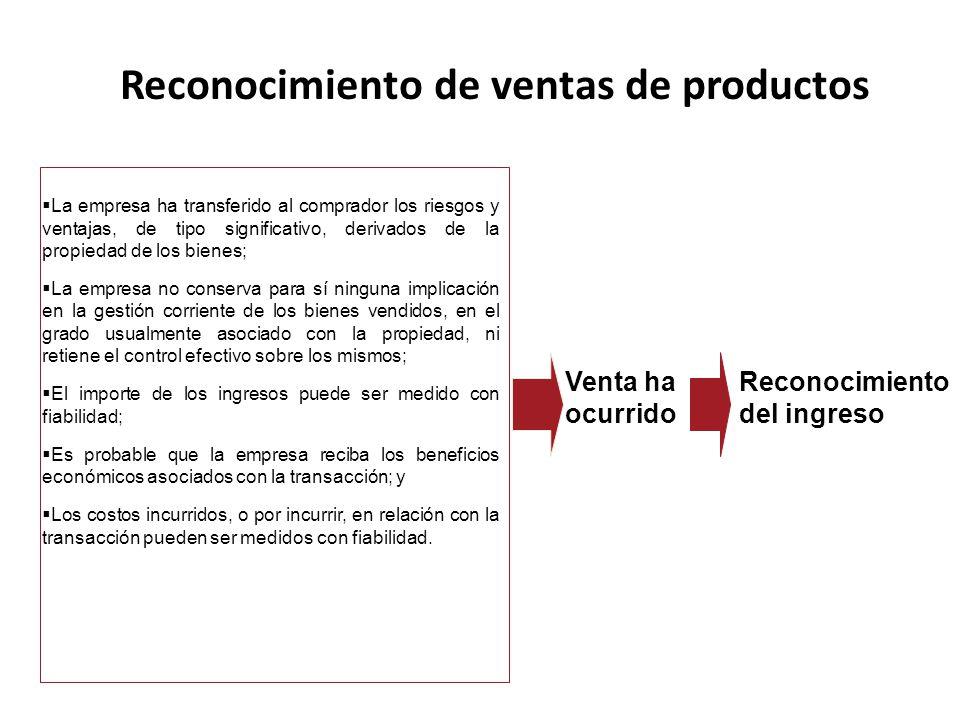Reconocimiento de ventas de productos