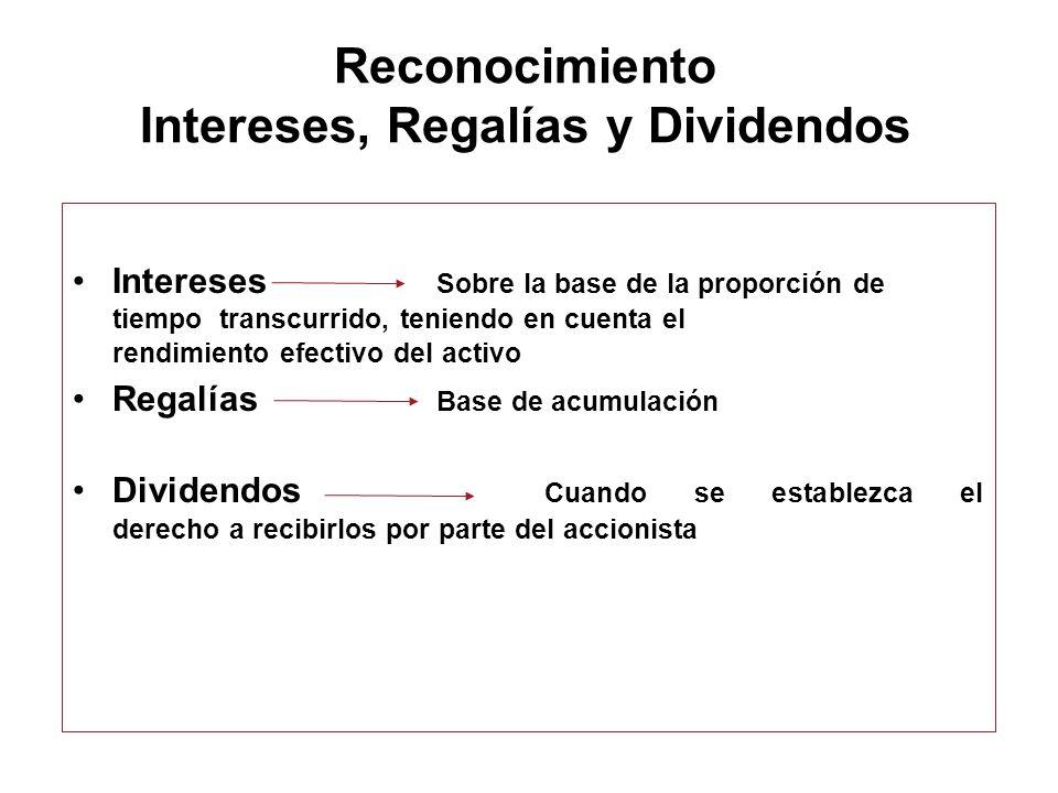 Reconocimiento Intereses, Regalías y Dividendos