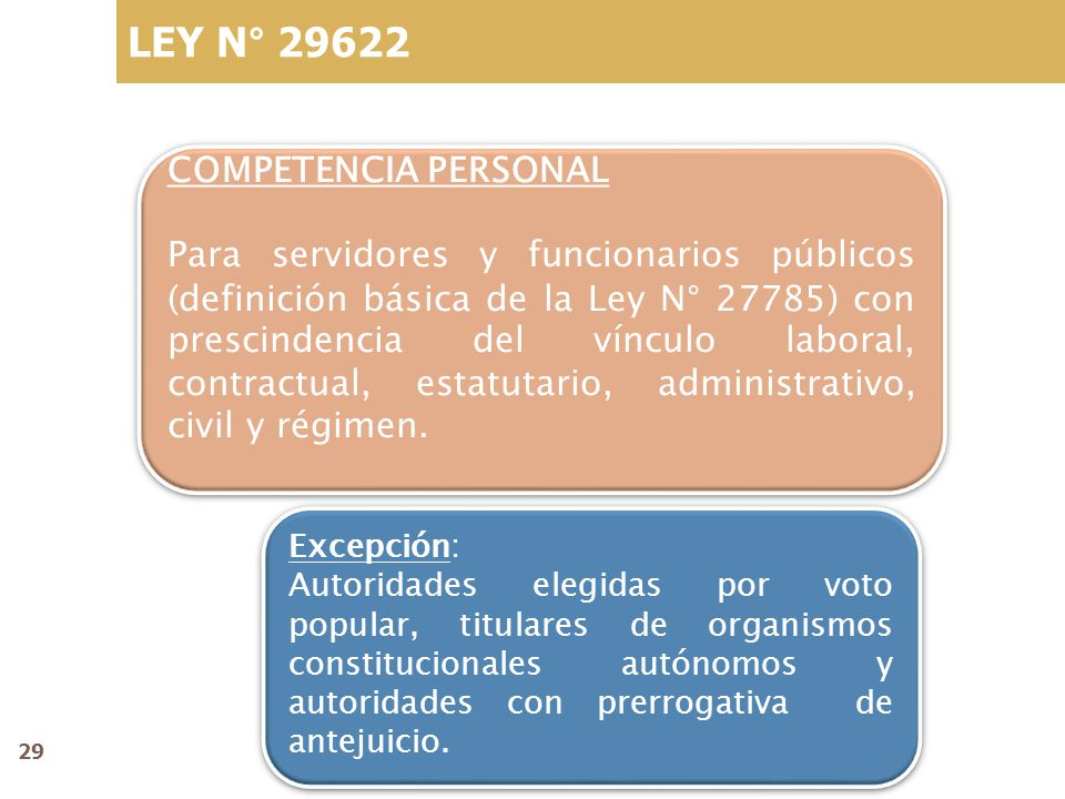 LEY N° 29622 COMPETENCIA PERSONAL