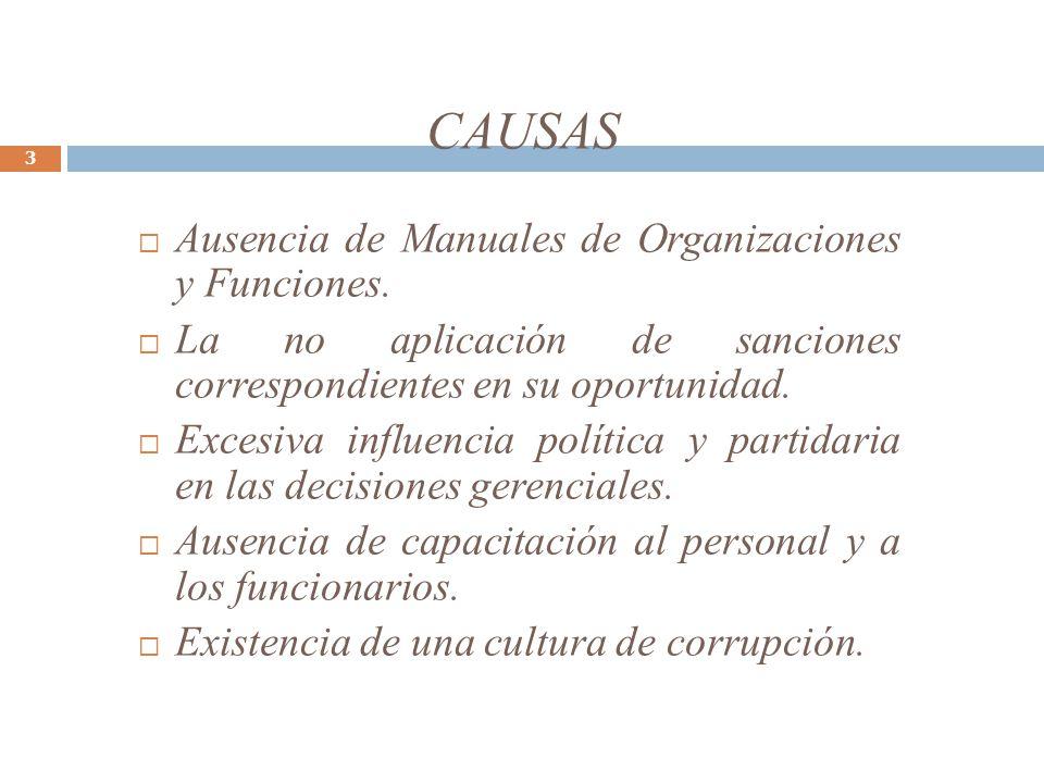 CAUSAS Ausencia de Manuales de Organizaciones y Funciones.