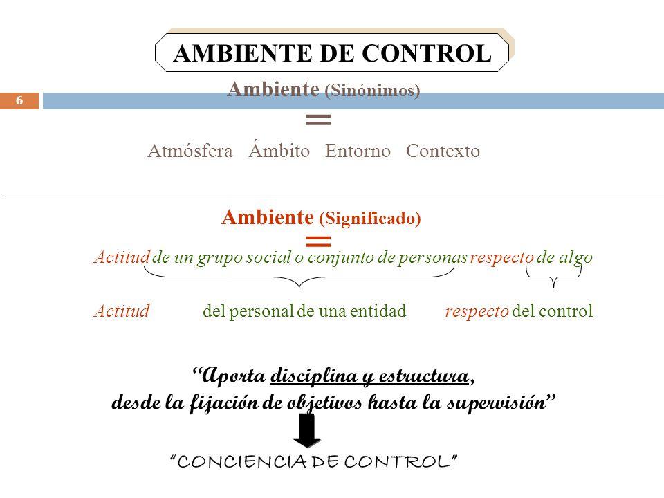 Ambiente (Significado) CONCIENCIA DE CONTROL