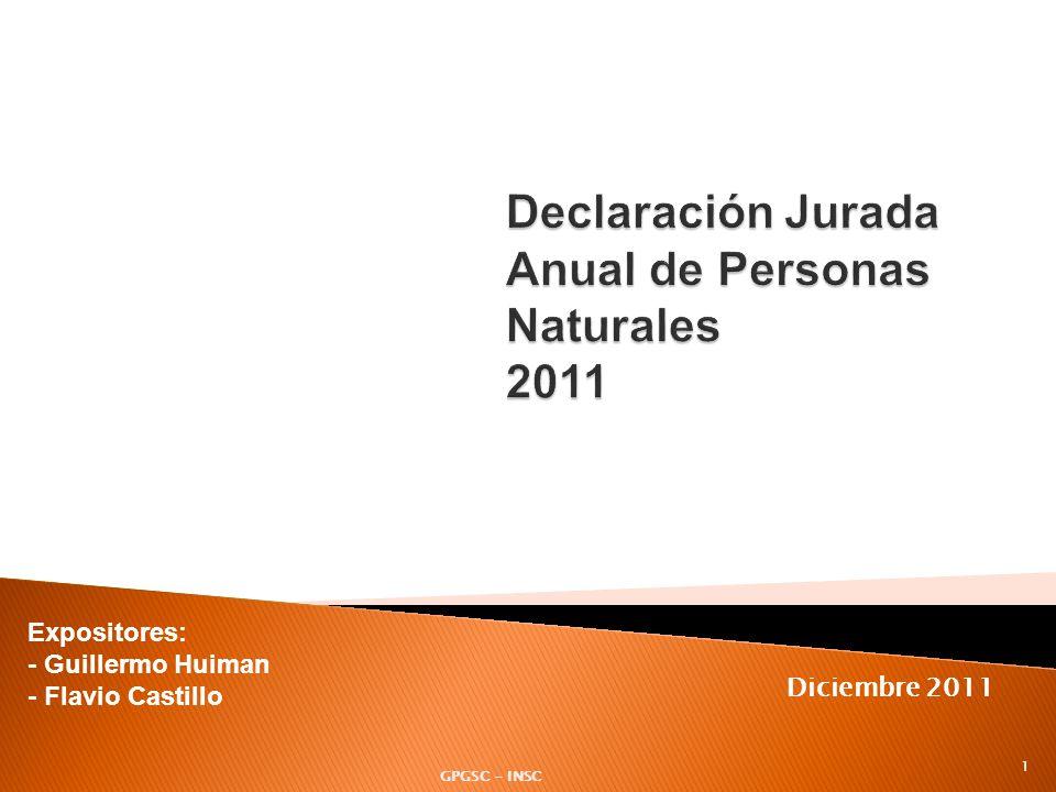 Declaración Jurada Anual de Personas Naturales 2011