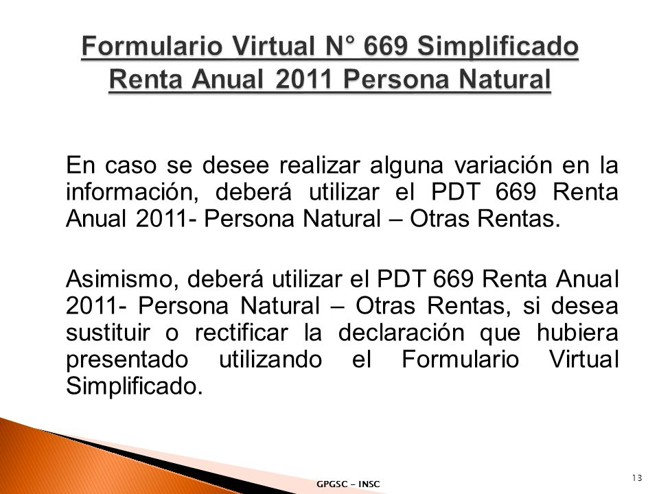 Formulario Virtual N° 669 Simplificado Renta Anual 2011 Persona Natural