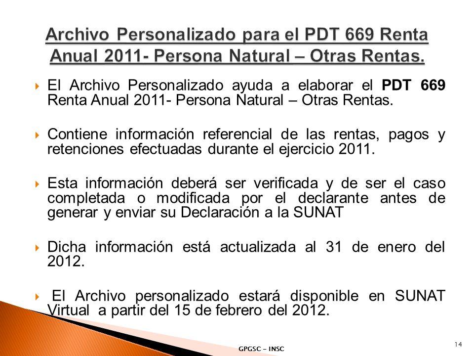 Archivo Personalizado para el PDT 669 Renta Anual 2011- Persona Natural – Otras Rentas.