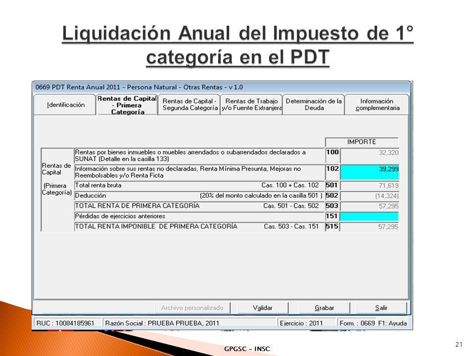 Liquidación Anual del Impuesto de 1° categoría en el PDT