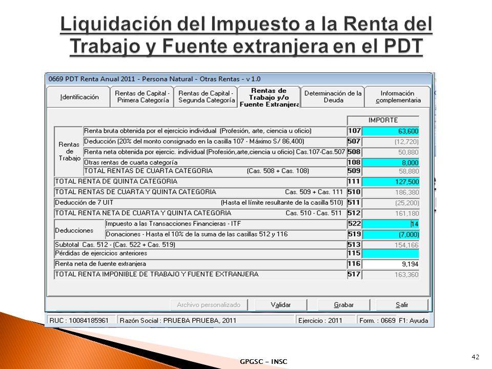 Liquidación del Impuesto a la Renta del Trabajo y Fuente extranjera en el PDT