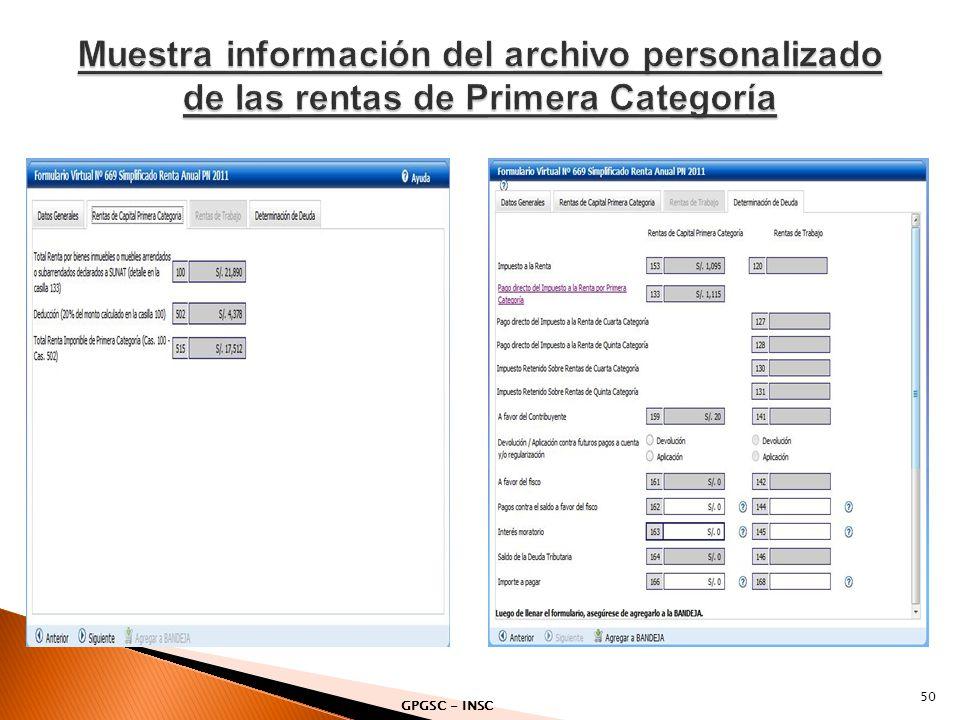 Muestra información del archivo personalizado de las rentas de Primera Categoría