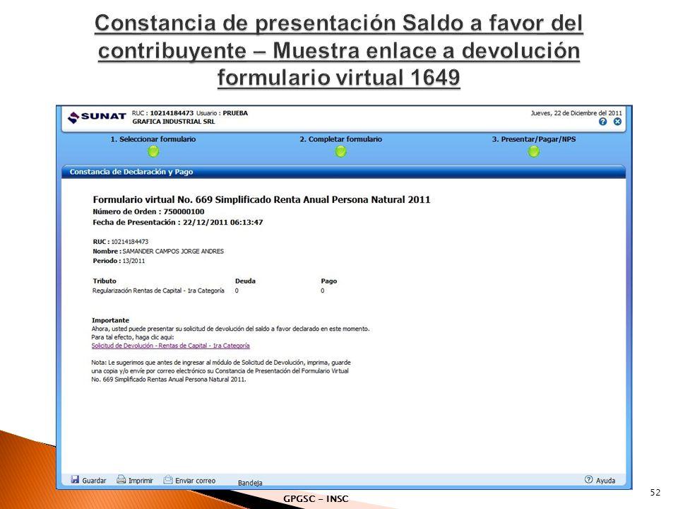 Constancia de presentación Saldo a favor del contribuyente – Muestra enlace a devolución formulario virtual 1649