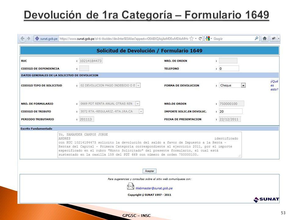 Devolución de 1ra Categoría – Formulario 1649