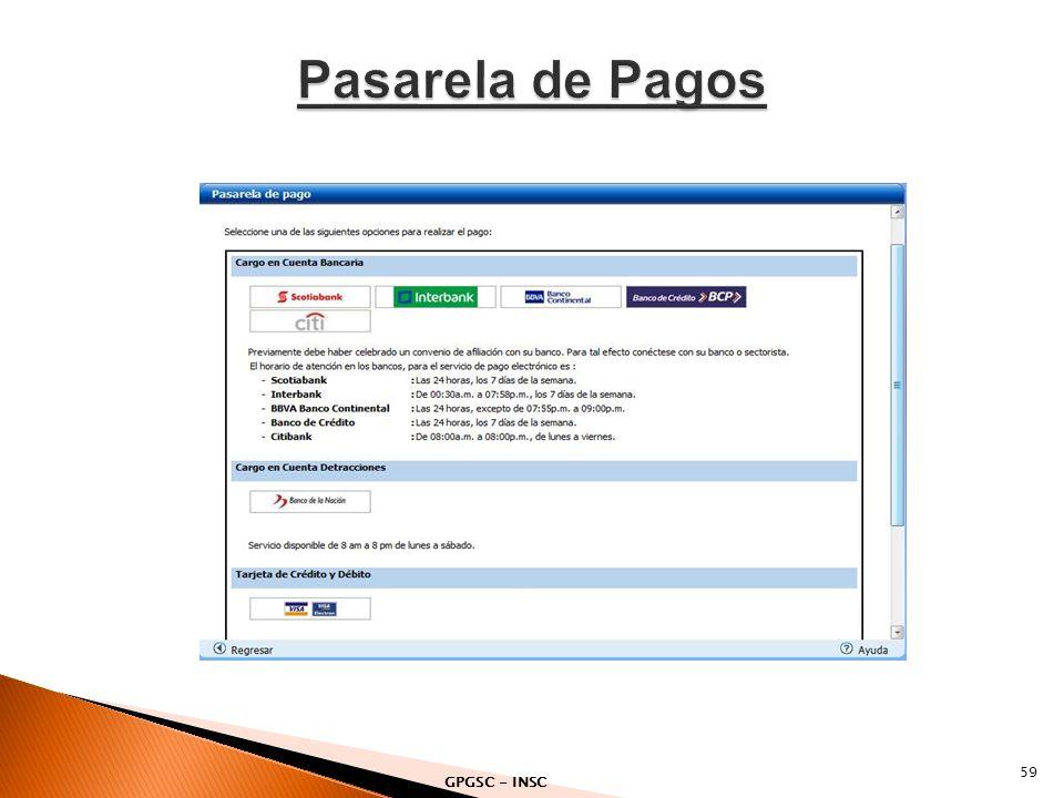 Pasarela de Pagos GPGSC - INSC