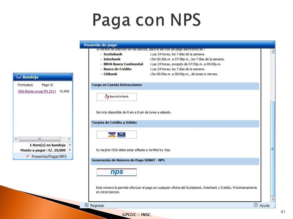 Paga con NPS GPGSC - INSC